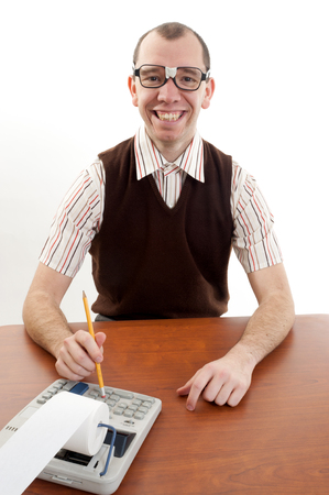 dweeb: This image shows a smiling nerdy accoutant Stock Photo