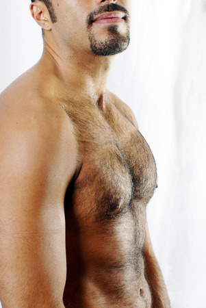 This image shows the defined torso of a muscular Hispanic man with trimmed chest hair. photo