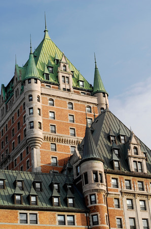 chateau: This image shows the historic Chateau Frontenac, in Quebec City. Stock Photo