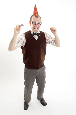 dweeb: This image shows a joyous nerd ready to party Stock Photo