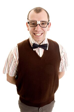 dweeb: This image shows a nerdy looking guy smiling. Stock Photo