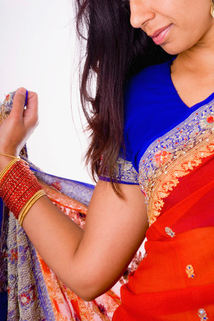 sari: This image shows a woman dressed in an Indian Sari.
