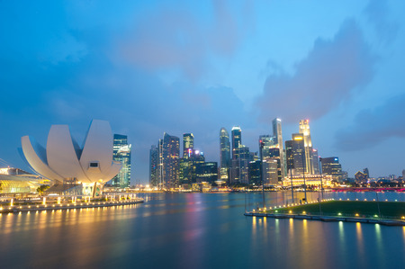 This image shows the Singapore Skyline at Night.