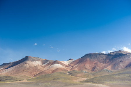 andean: This image shows the colurful and varied landscape of Andean Bolivia Stock Photo