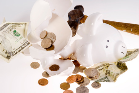 american currency: This image shows a Broken Bank with American Currency Stock Photo