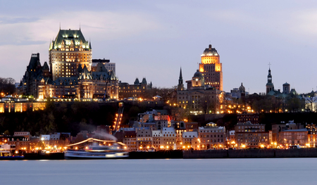 lit image: his image was taken in Quebec City, Canada and shows the city lit up at night.