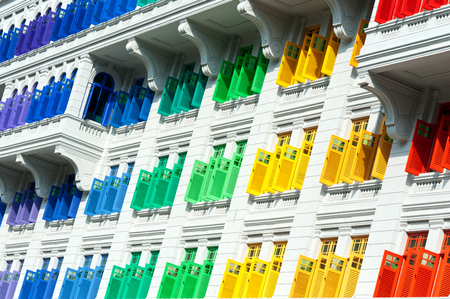 quay: This image shows Colorful window shutters  at Clark Quay, Singapore Stock Photo