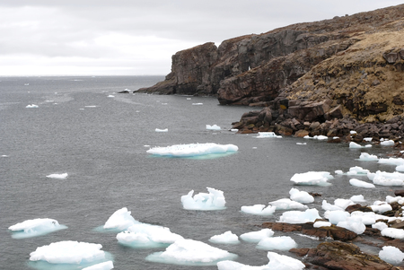 inlet bay: This image was shot in Bay de Verde, Newfoundland Canada and shows an inlet full of icebergs.