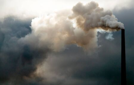 polluting: This image shows a Polluting Smokestack