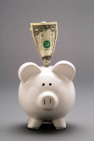 economizing: This image shows a Piggy Bank With American Dollars