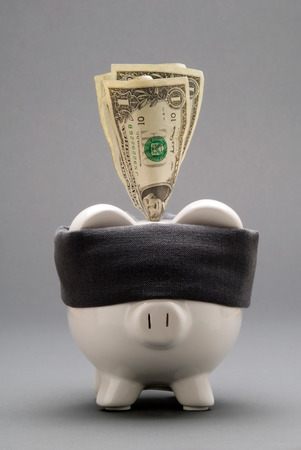 blindfolded: This image shows a  Blindfolded Piggy Bank