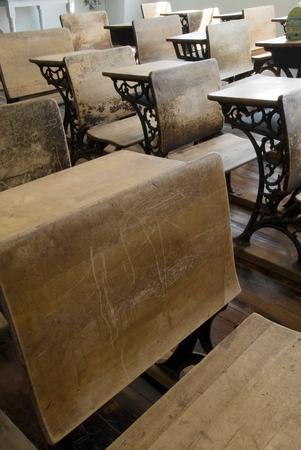 schoolhouse: This image shows Vintage School Desks