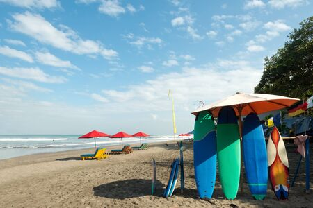 seminyak: Surfboards on Seminyak Beach, Bali, Indonesia