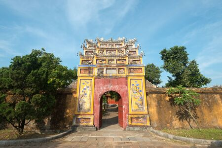 hue: This image shows a Gate within the Imperial City, Hue, Vietnam Stock Photo