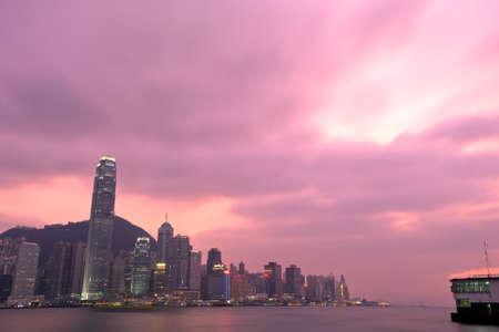 hong kong harbour: This image shoes the Hong Kong Harbour at dusk.