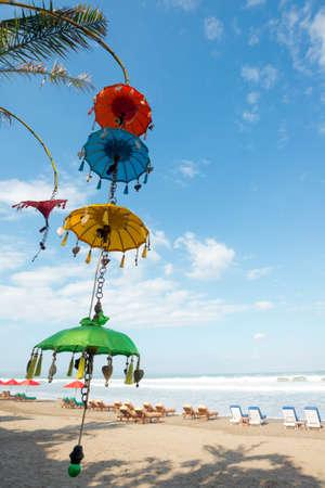 bali beach: This image shows Balinese Decorations, Seminyak Beach, Bali, Indonesia