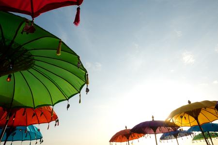 This image shows Beach Umbrellas, in Seminyak, Bali, Indonesia Stok Fotoğraf