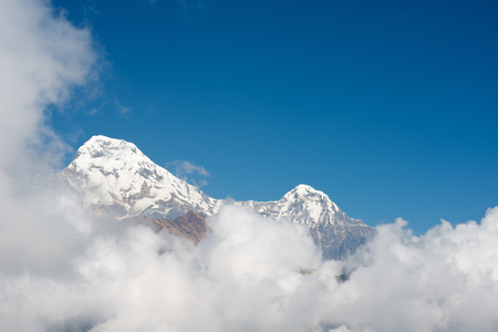 fishtail: This image shows Machapuchare or Fishtail peak in Nepal Stock Photo