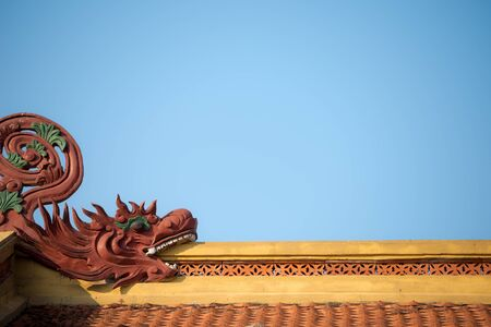 This image shows a Temple Roof detail, Hanoi, Vietnam