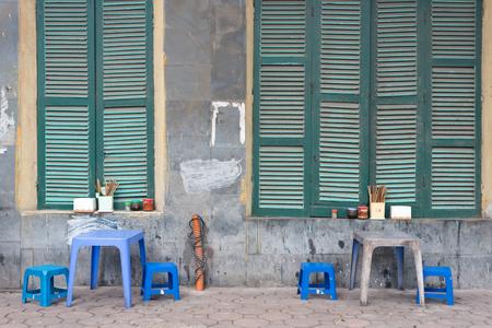 This image shows a Street Cafe, Hanoi, Vietnam