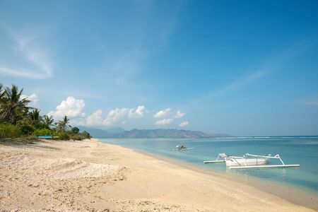 nusa: This image shows a beach scene on Gili Air, in West Nusa Tenggara, Indonesia Stock Photo