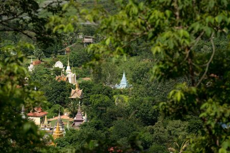 spiritual architecture: This image shows Temples seen from Oudong Mountain in Cambodia Stock Photo