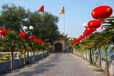 tran: This image shows the EEntrance to Tran Quoc Temple in Hanoi, Vietnam