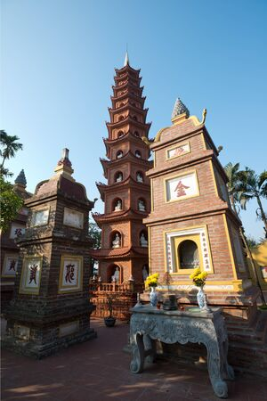 tran: This image shows the Pagoda of Tran Quoc temple in Hanoi, Vietnam