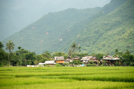 This image shows the scenery of Mai Chau in Vietnam