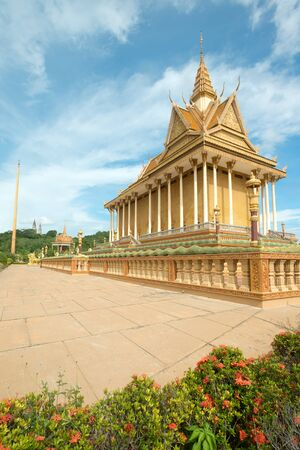 spiritual architecture: This image shows a Buddhist Temple in Oudong, Cambodia Stock Photo