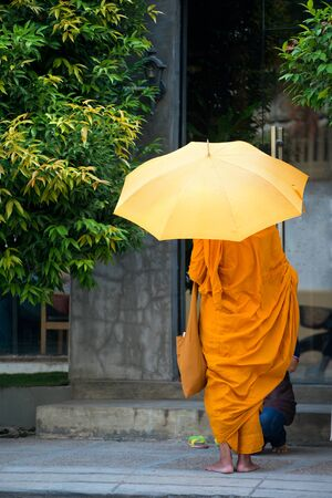 spiritual architecture: This image shows a Monk in Phnom Penh, Cambodia