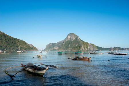 nido: This image shows El Nido Bay and Cadlao Island, El Nido, Philippines Stock Photo