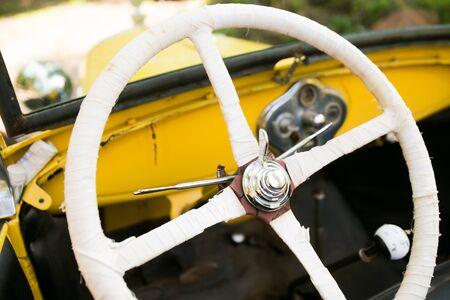 Steering wheel of antique car