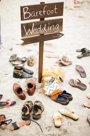 ビーチ結婚式のサイン 写真素材