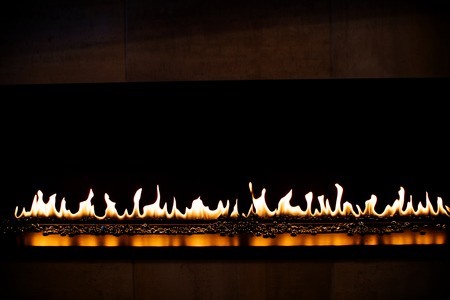 gas fireplace: Modern gas fireplace with