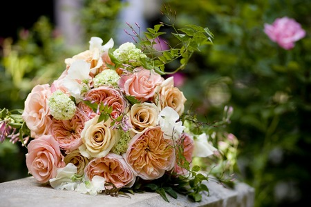 Brides wedding bouquet of roses, garden roses, mini hydrangea, sweet pea, and jasmine vine photo
