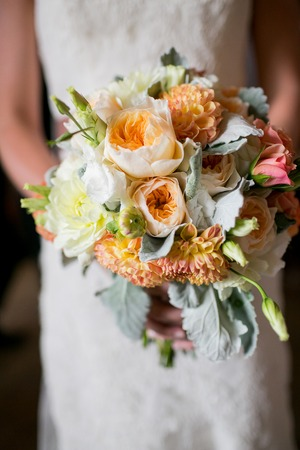 Wedding bouquet with Roses, Dahlias, Lisianthus, and Dusty Miller flowers