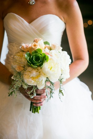miller: Bride holding wedding bouquet with Roses, Echeveria, Dusty Miller, Peonies, and Queen Anne?s Lace flowers Stock Photo