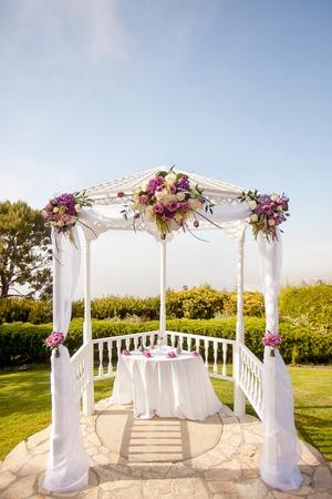 Outdoor gazebo used as a wedding alter Stock Photo