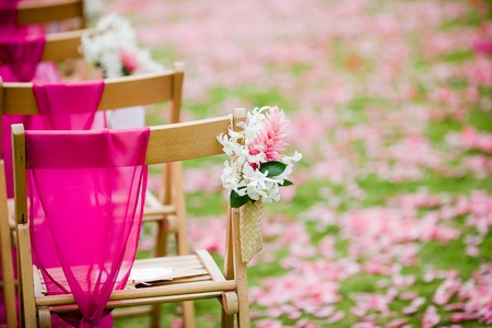destination wedding: White Dendrobium Orchid and Pink Ginger flower on a wedding aisle for a destination wedding Stock Photo