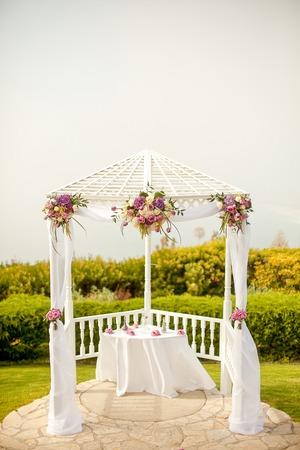 alter: Outdoor gazebo used as a wedding alter Stock Photo