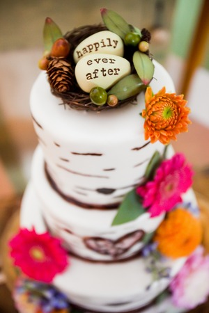 Wedding Cake with Happily Ever After on the top