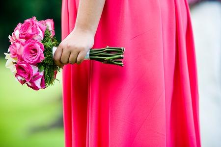 꽃의 신부 들러리 지주 꽃다발 스톡 콘텐츠