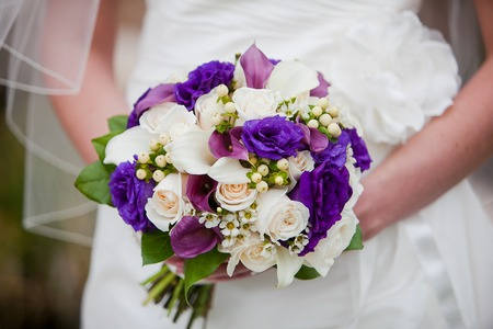 Bride holding wedding bouquet consisting of white calla lilies, purple calla lilies, off white hypericum berry, roses, purple lisianthus, chervil flower, and greens-salal