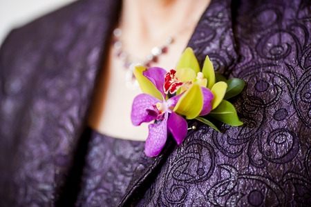 bride dress: Mother of the Bride Boutonniere consisting of green cymbidium orchid, purple denrobium orchid, and green ruscus leaves. Stock Photo
