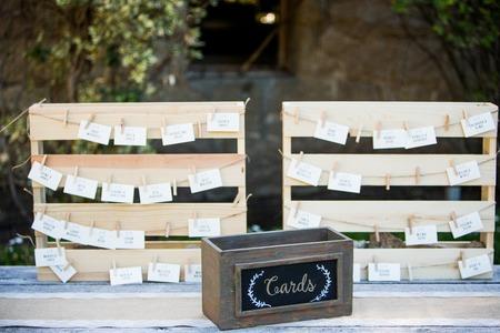 結婚披露宴でテーブルのカード 写真素材