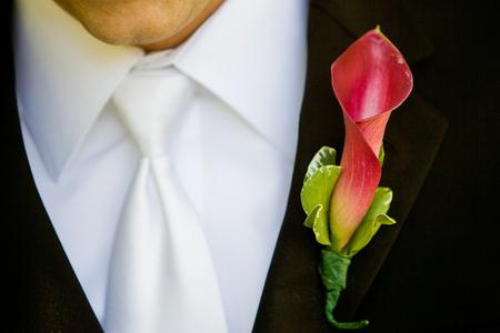 Bräutigam trägt einen roten und grünen boutonniere Standard-Bild