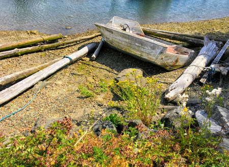Abandoned boat on the shores of Gibson's, British Columbia, Canada