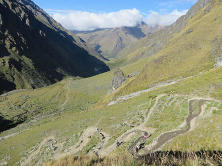 The rocky, remote  and majestic terrain of the Salkantay Trek, high in the Andes mountains, on the way to Machu Picchu 版權商用圖片