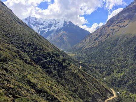 The rocky, remote  and majestic terrain of the Salkantay Trek, high in the Andes mountains, on the way to Machu Picchu 写真素材